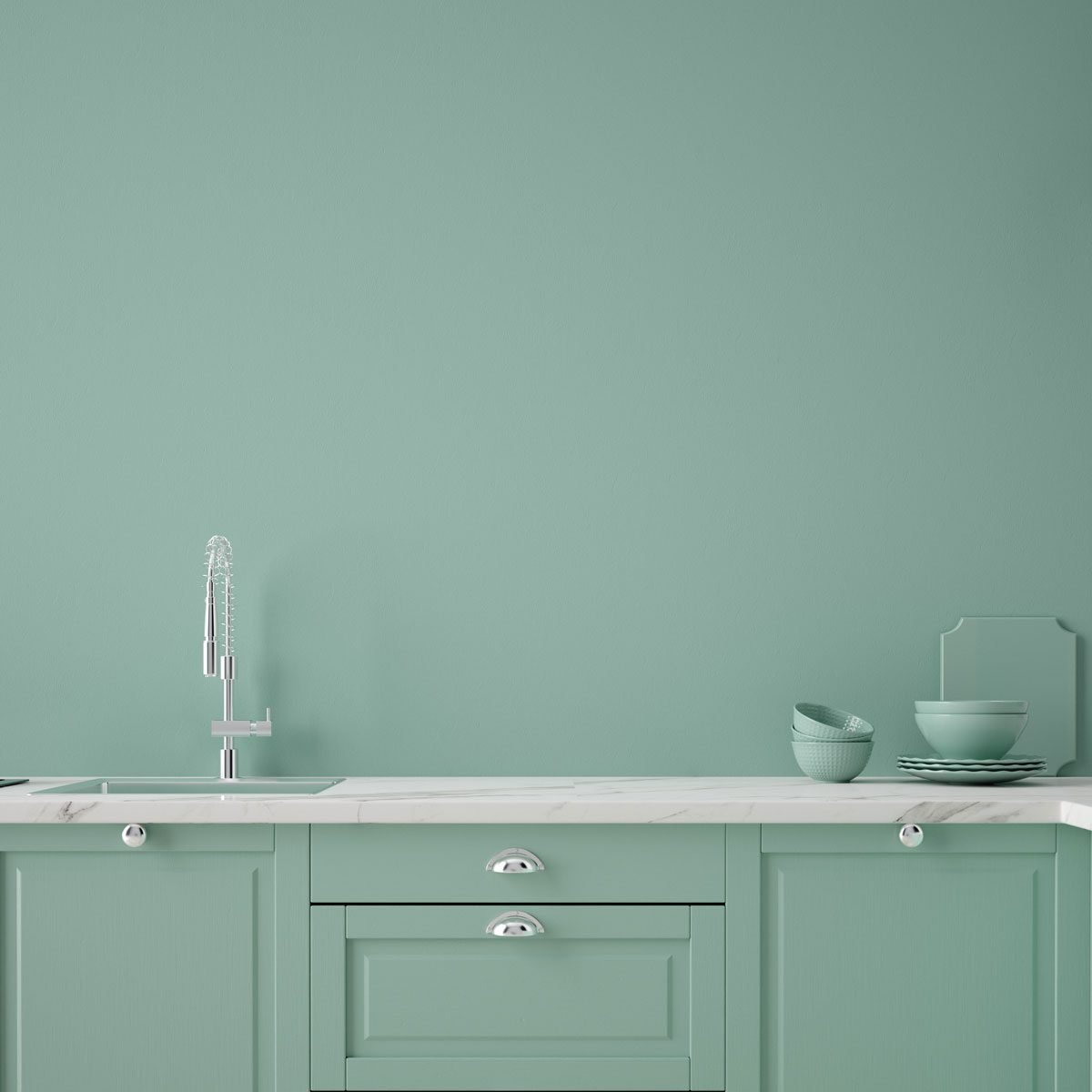 Matching green cabinets and walls
