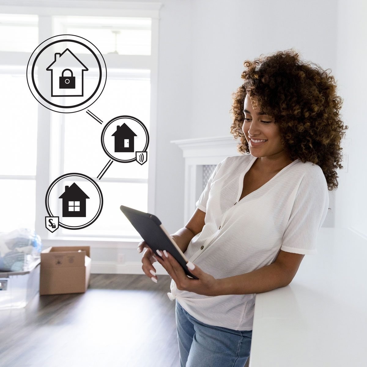 Woman using Remote Home Security System Gettyimages 1185470350