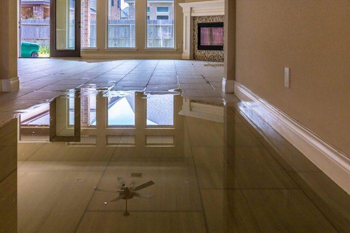 Family house in Houston suburb flooded from Hurricane Harvey 2017