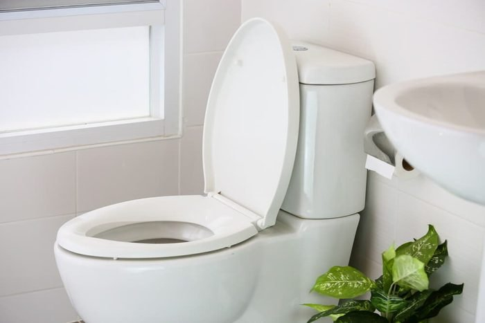 white toilet in modern home, white toilet bowl in cleaning room, flushing liquid in toilet, private toilet in modern room, interior equipment and modern restroom, cleaning toilet.