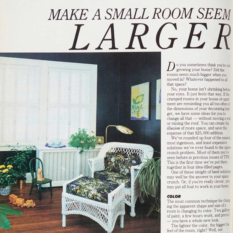 Square cropped Vintage 1988 Family Handyman project on making a room look bigger