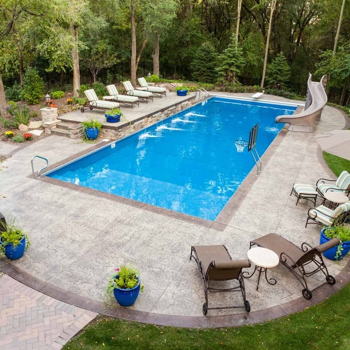 Backyard Swimming Pool water features Gettyimages 155377305 Bball Pool