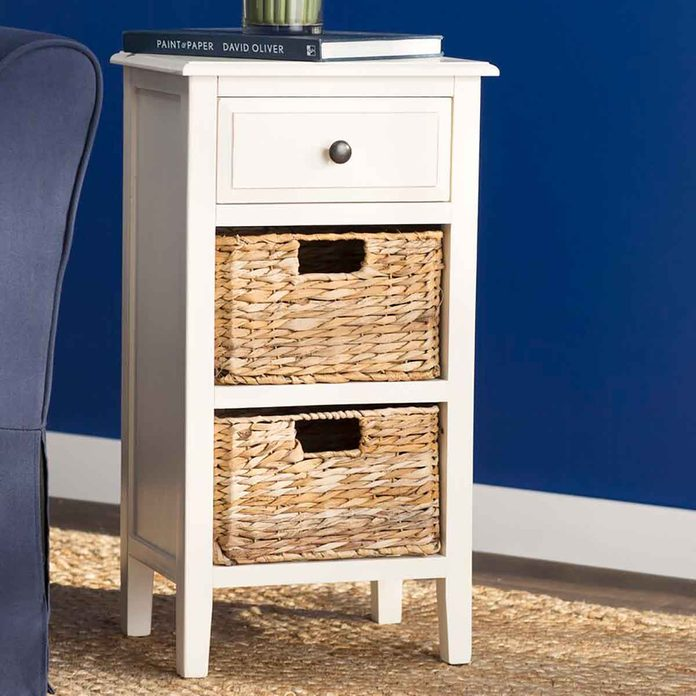 end table with storage baskets