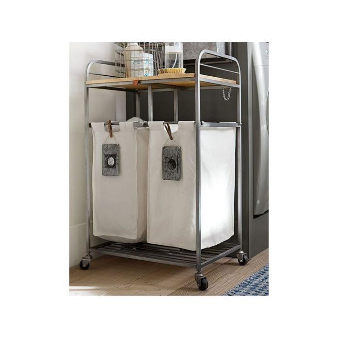 Bathroom Cart Galvanized Laundry Organization System O
