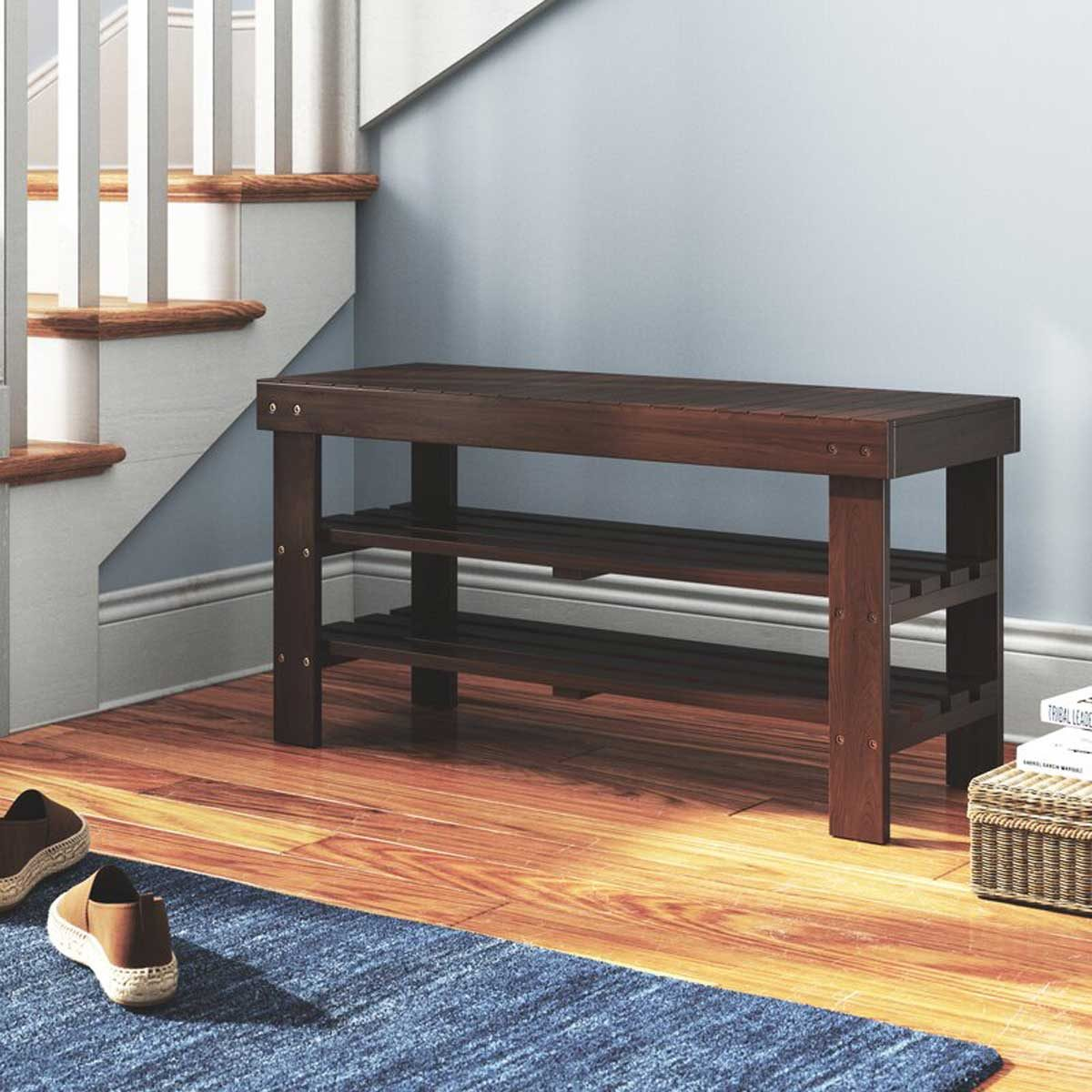 Entryway Bench Trainor+wood+shoe+storage+bench