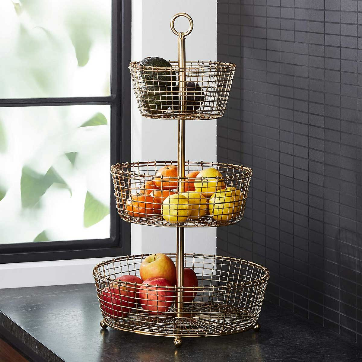 Fruit Basket Bendt Gold 3 Tier Wire Fruit Basket