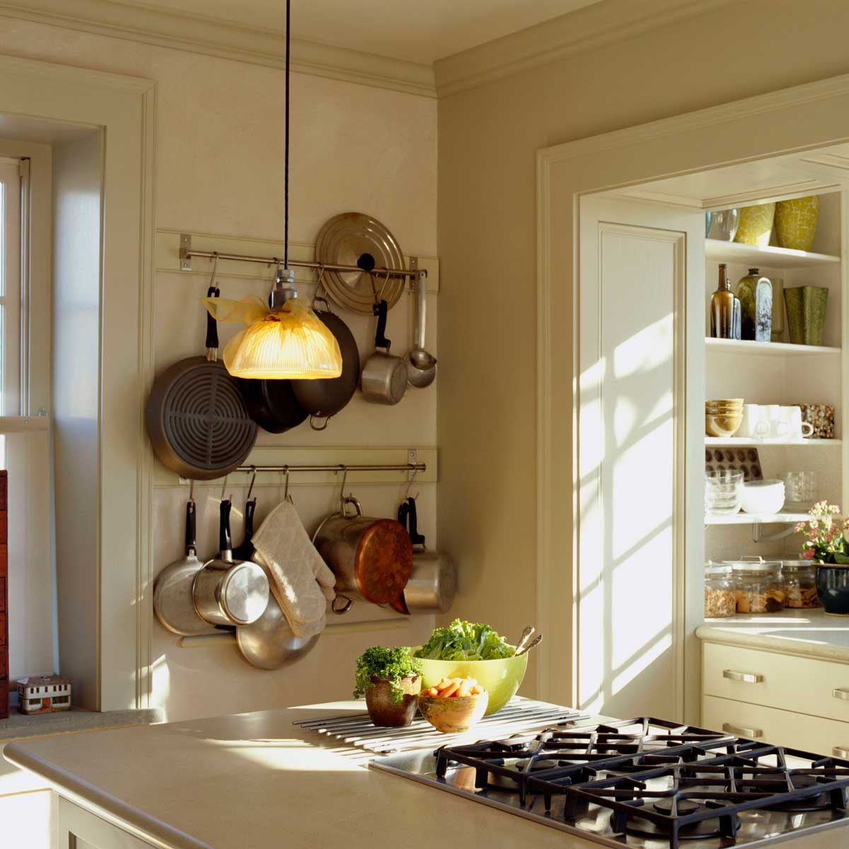 Kitchen Pot Rack Gettyimages 98196801