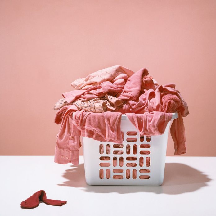 Red Sock with Pink Laundry