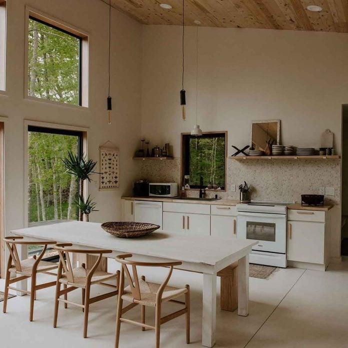 bright white kitchen cabin