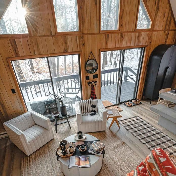 bright cabin wood panels
