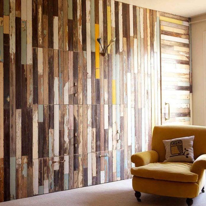 reclaimed wood panel wall