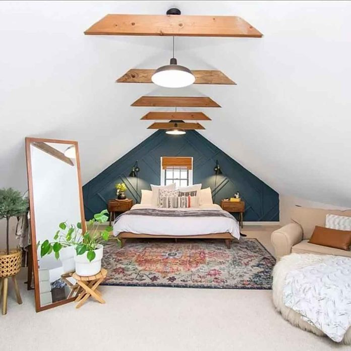 attic bedroom wooden beams