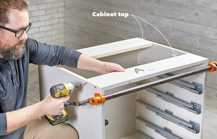 Reinstall the cabinet tops