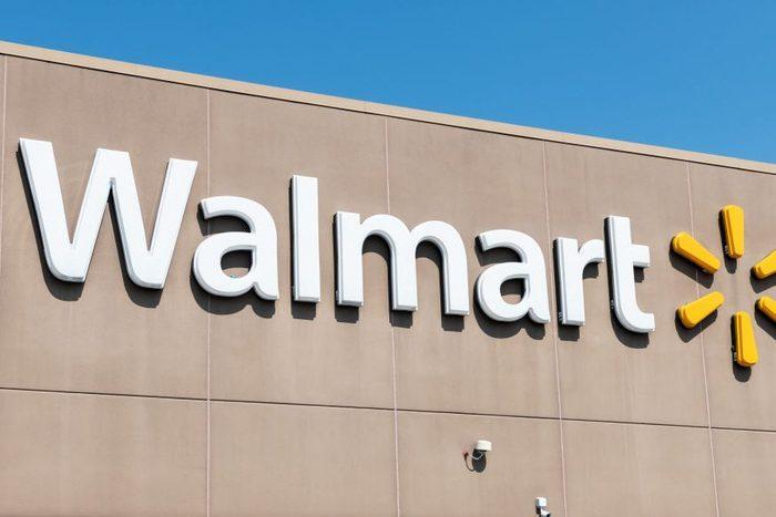 walmart logo on an exterior store wall