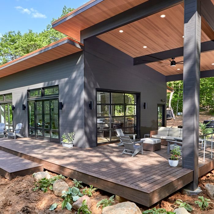 Outdoor view of the deck on the Family Handyman Getaway 2021 House