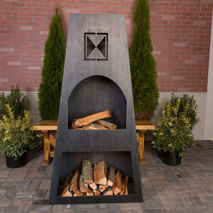 Outdoor Fireplace Dewolf+66''+h+steel+wood+burning+outdoor+fireplace