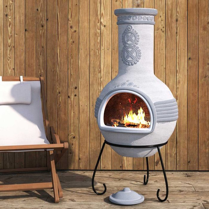 Outdoor Fireplace Midgard+49.2''+h+clay+wood+burning+outdoor+chiminea