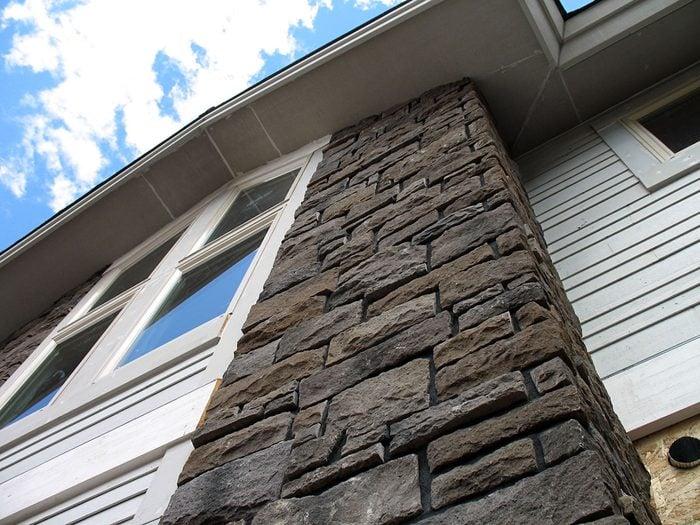 tall stone veneer on house