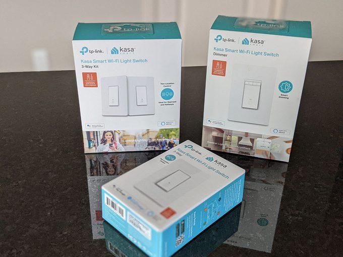 Kasa smart switches retail boxes