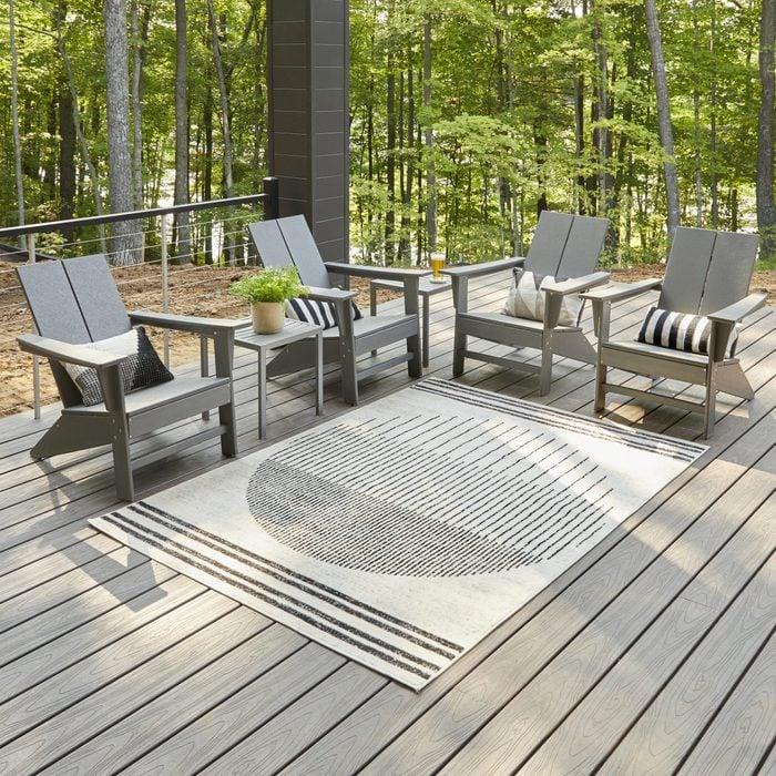 Family Handyman Getaway Artistic Weavers Joel Mod Black Ivory Ombre Geometric Stripe Area Rug