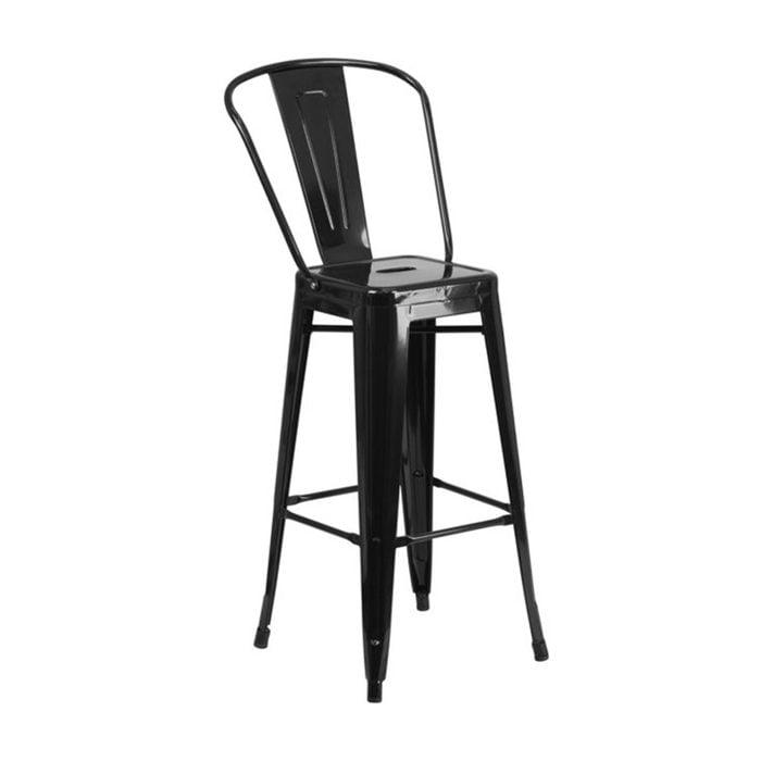 Flash Furniture Commercial Grade 30 High Black Metal Indoor Outdoor Barstool Walmart
