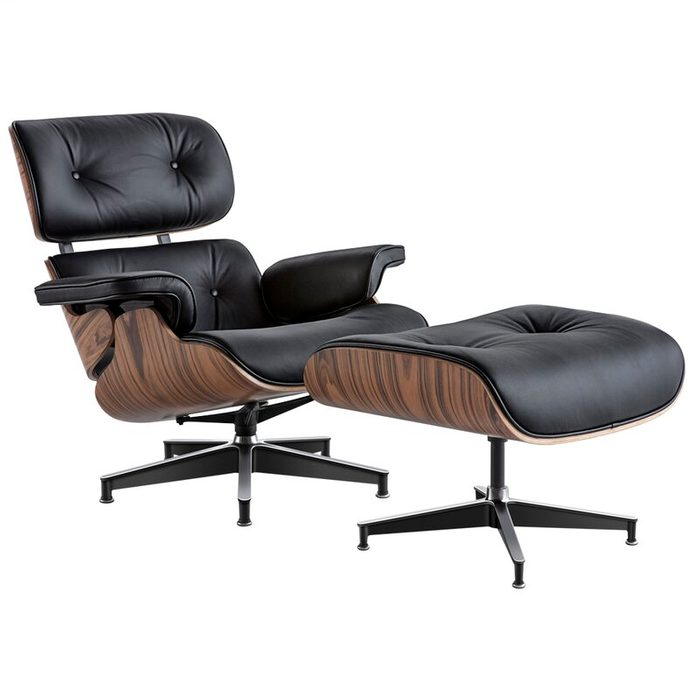 Girolamo 34.6'' Wide Tufted Genuine Leather Top Grain Leather Swivel Lounge Chair And Ottoman