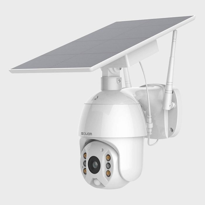 Home Security Camera Outdoor Wireless Wifi Pan Tilt 360 Degree View Spotlight Rechargeable Solar Battery Powered System