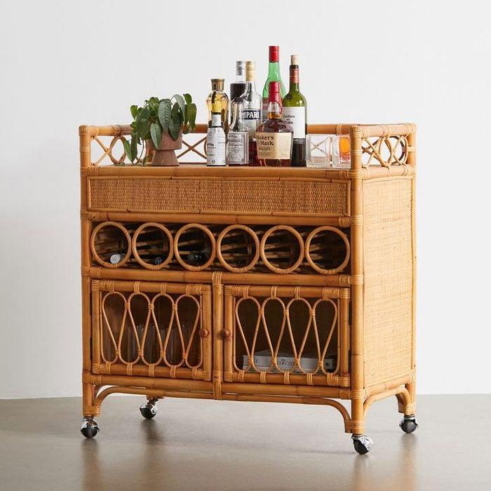 Melody Rattan Bar Cart