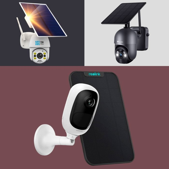 collage of three solar powered security cameras