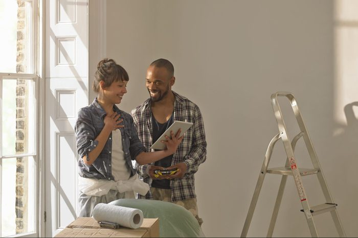 A couple discussing DIY home project