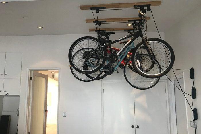 bikes hanging in home garage