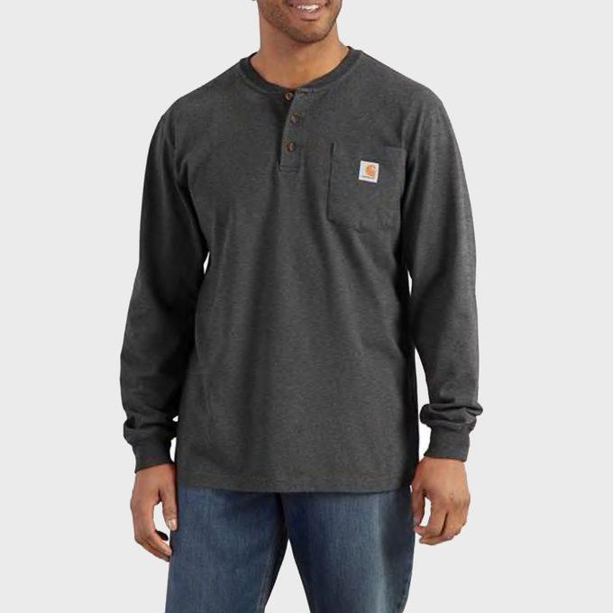 Loose Fit Heavyweight Long Sleeve Pocket Henley T Shirt
