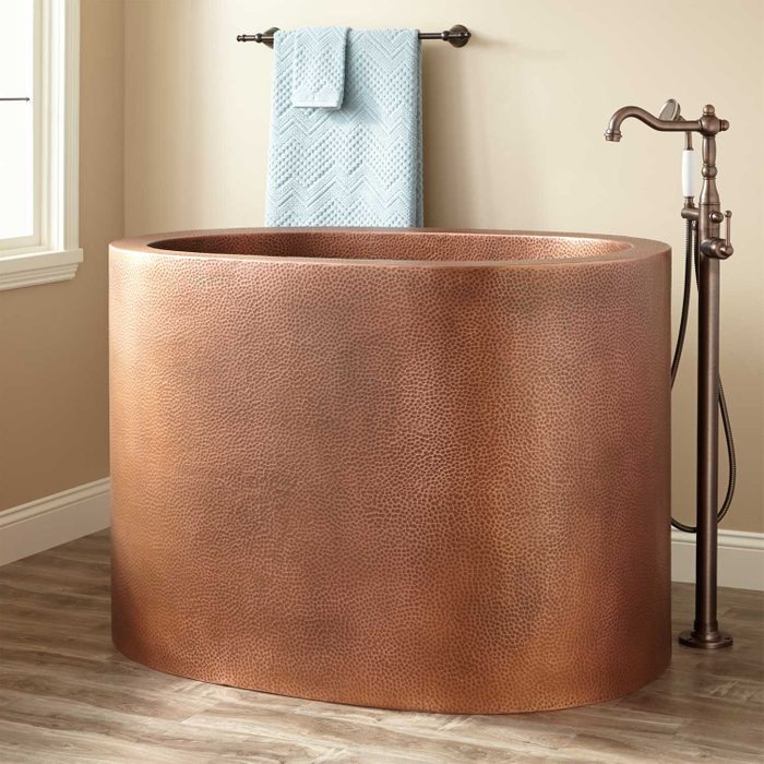 Raksha Hammered Copper Japanese Soaking Tub