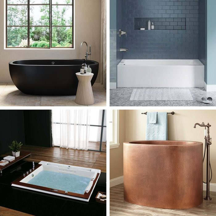 Best Bathtubs Collage of four different styles of tubs