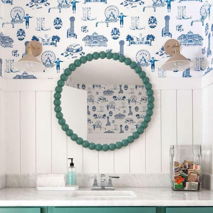 Blue And Green Bathroom Wallpaper