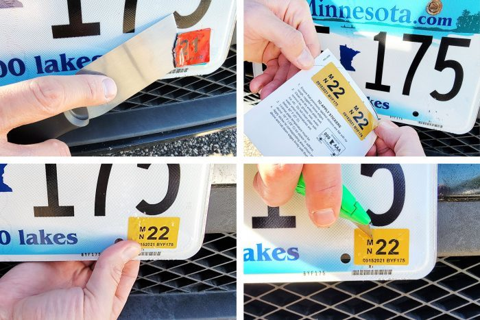 collage of four photos showing the process of Changing And Scoring License Plate Tag Sticker