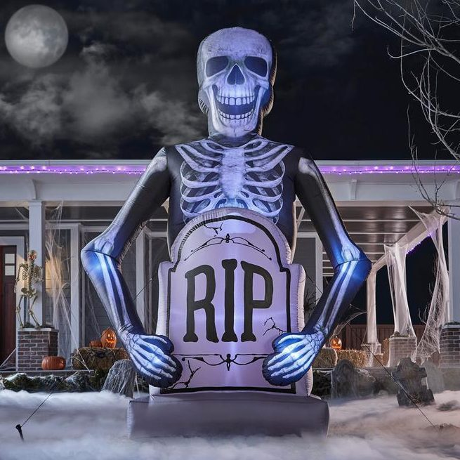 Inflatable Photorealistic Skeleton with a Tombstone
