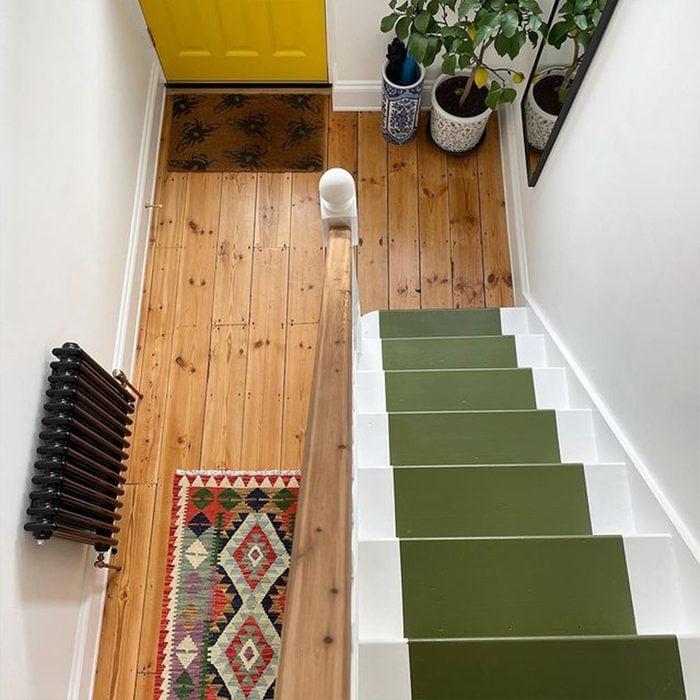 Green Painted Stair Runner