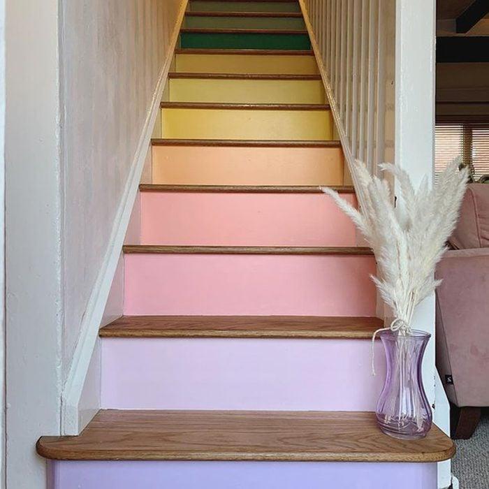 Pastel Rainbow Painted Stairs