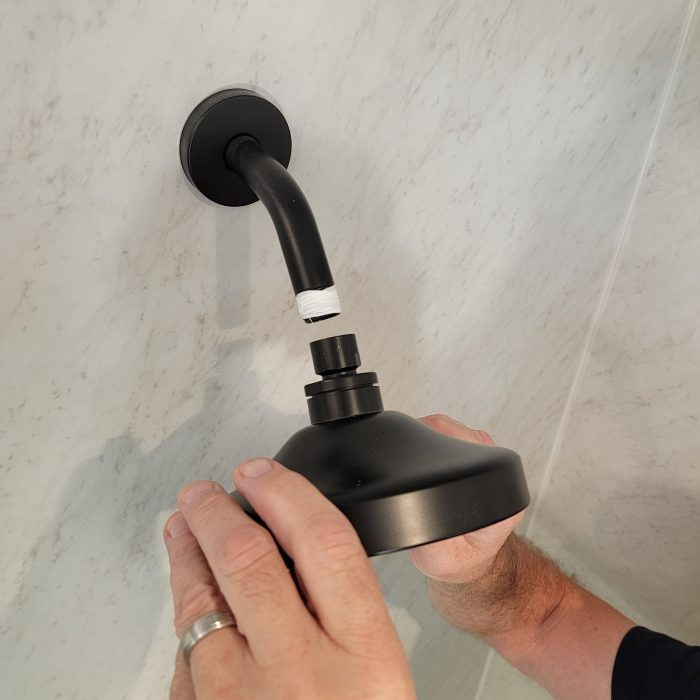 installing the new showerhead