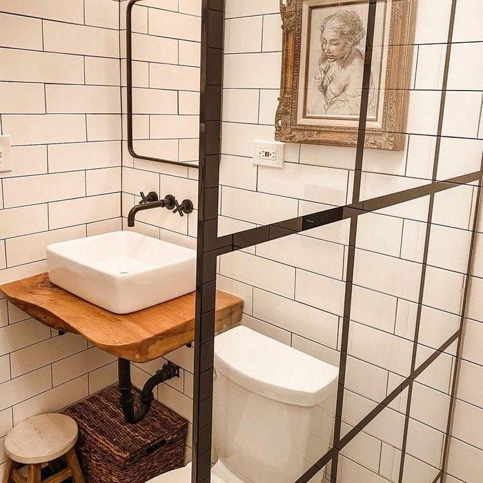 Floating Reclaimed Wood Bathroom Vanity